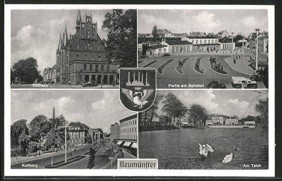 AK Neumünster, Rathaus, Bahnhof, Kuhberg, Teich, Wappen