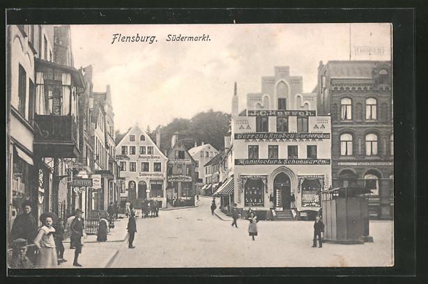 AK Flensburg, Strassenleben mit Geschäften am Südermarkt