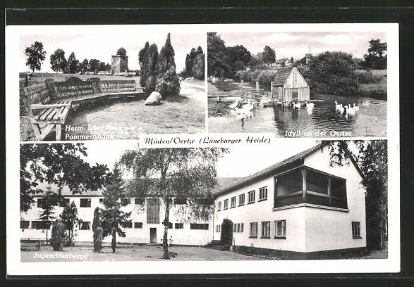 AK Müden, Hermann Löns-Denkmal u. Pommernbank, Jugendherberge, Idyll an der Oertze