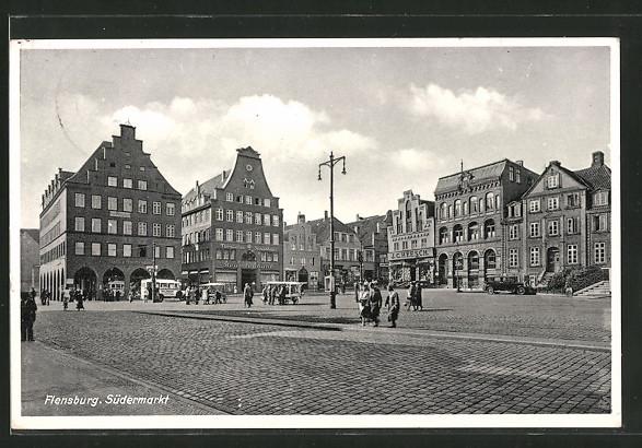 AK Flensburg, Südermarkt mit Geschäften & Beamtenbank