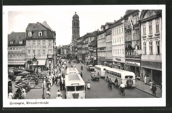 AK Göttingen, Weenderstrasse mit Blick zur Kirche, Busse