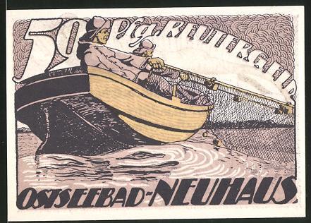 Notgeld Neuhaus 1922, 50 Pfennig, Fischer holen Netz ein, Nixe & maskierter Mann