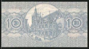 Notgeld Köln 1920, 10 Pfennig, Gebäudeansicht mit Auto