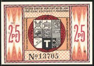 Notgeld Steinfeld 1920, 25 Pfennig, Wappen, Silhouette der Stadt