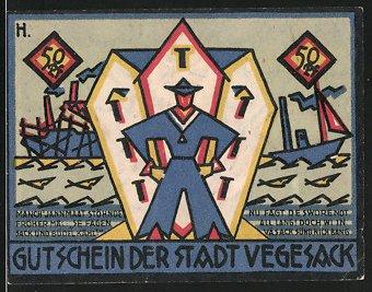 Notgeld Vegesack 1921, 50 Pfennig, Matrose vor Hafengebäude, Wappen 0