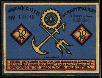 Notgeld Vegesack 1921, 50 Pfennig, Matrose vor Hafengebäude, Wappen 1