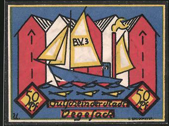 Notgeld Vegesack 1921, 50 Pfennig, Fischkutter & Hafenspeicher