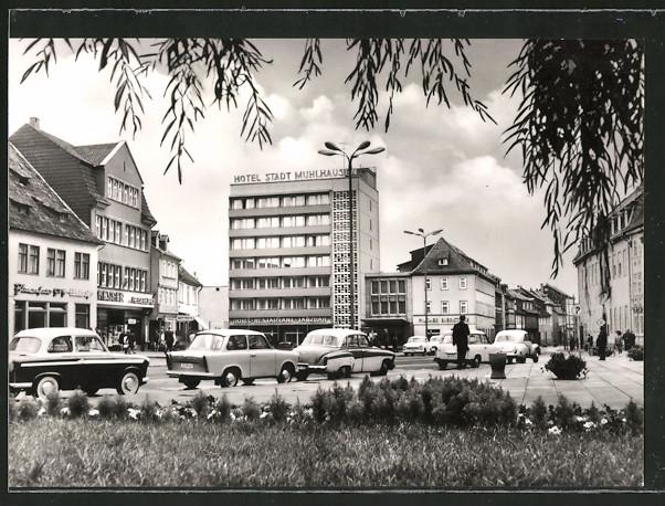 AK Mühlhausen, Blick zum Hotel Stadt Mühlhausen