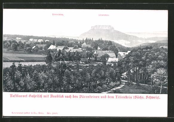 AK Gohrisch, Panorama mit Bärensteinen und Lilienstein