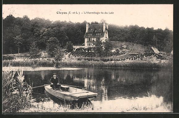 AK Cloyes, L'Hermitage vu du Loir