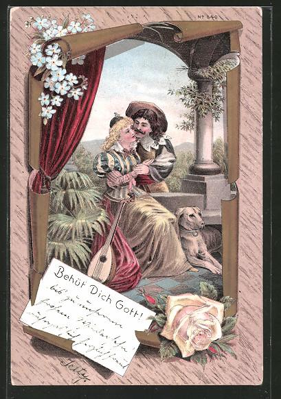Lithographie Behüt Dich Gott!, Trompeter von Säckingen Arm in Arm mit Margareten