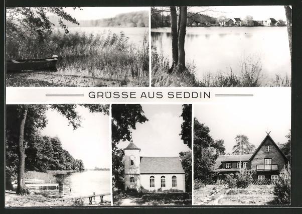 AK Seddin, Blick auf den Seddiner See, Kirche und Ferienheim VEB Minol