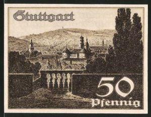 Notgeld Stuttgart 1921, 50 Pfennig, Panorama der Stadt, Wappen