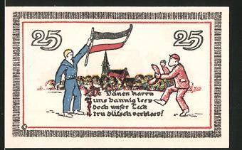Notgeld Leck, 25 Pfennig, Matrose mit deutscher Fahne, Wappen
