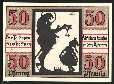 Notgeld Naumburg 1920, 50 Pfennig, Mann überreicht Mädchen Kirschen, Wappen