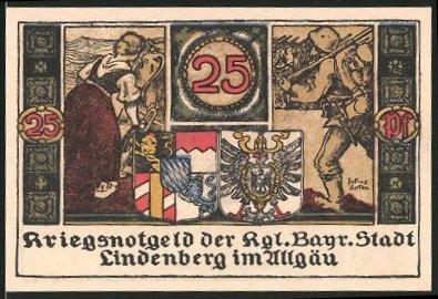 Notgeld Lindenberg 1918, 25 Pfennig, Soldaten mit Stahlhelm & Gewehr marschieren ins Gefecht, Wappen, Bäuerin mit Pflug