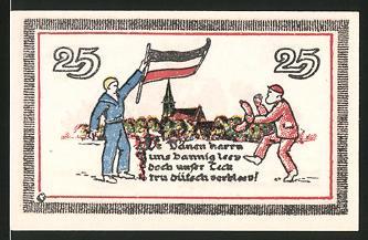 Notgeld Leck, 25 Pfennig, Matrose mit deutscher Fahne trifft auf einen Dänen, Wappen
