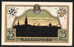 Notgeld Zeulenroda 1921, 25 Pfennig, Silhouette der Stadt, Wappen