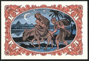Notgeld Kahla 1921, 50 Pfennig, Josef & Maria mit Jesuskind & Esel, Pyramiden von Giseh im Hintergrund