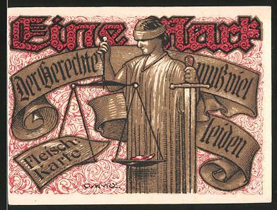 Notgeld Tonndorf-Lohe 1921, 1 Mark, Justitia mit Waage & Schwert