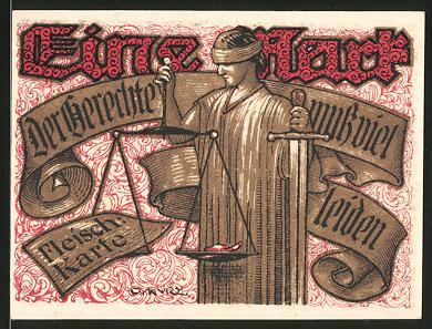 Notgeld Tonndorf-Lohe 1921, 1 Mark, Justitia mit Schwert & Waage