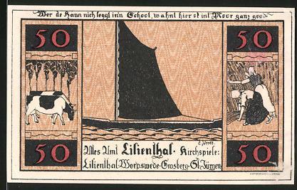 Notgeld Lilienthal 1921, 50 Pfennig, Segelschiff, Kühe, Bäuerinnen, Kirche