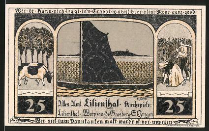 Notgeld Lilienthal 1921, 25 Pfennig, Segelschiff, Kühe, Bäuerin & Bauer, Heiligenbild Maria mit Jesus