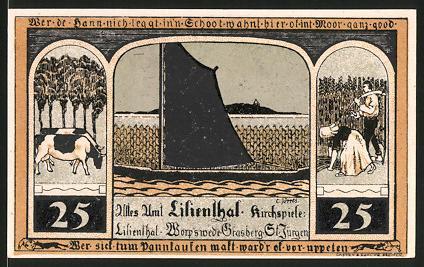 Notgeld Lilienthal 1921, 25 Pfennig, Segelschiff, Kühe, Bäuerin und Bauer, Kirche & Heiligenbild Maria mit Jesuskind