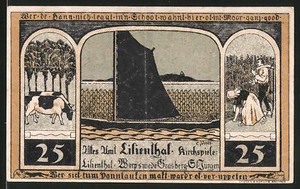 Notgeld Lilienthal 1921, 25 Pfennig, Segelschiff, Kühe, Bäuerin & Bauer ernten Getreide, Kirche & Heiligenbild Maria