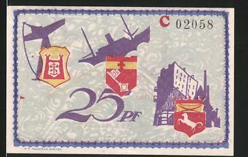 Notgeld Bremerhaven 1921, 25 Pfennig, Schiff, Kran, Hafengebäude, Leuchtturm, Frachtschiff & Seeungeheuer