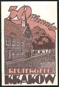 Notgeld Krakow 1922, 50 Pfennig, Strassenpartie mit Gebäudeansicht, Baby verstreut Blumen