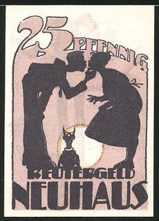 Notgeld Neuhaus 1922, 25 Pfennig, Paar küsst sich, Schosshund, Mann verspeist Fisch