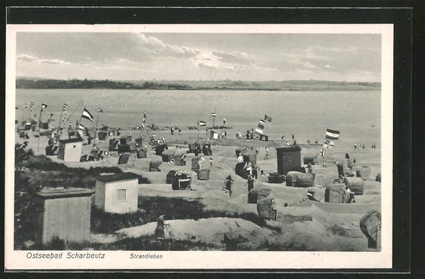 AK Scharbeutz, Strandleben und Sandburgen auf dem Badestrand