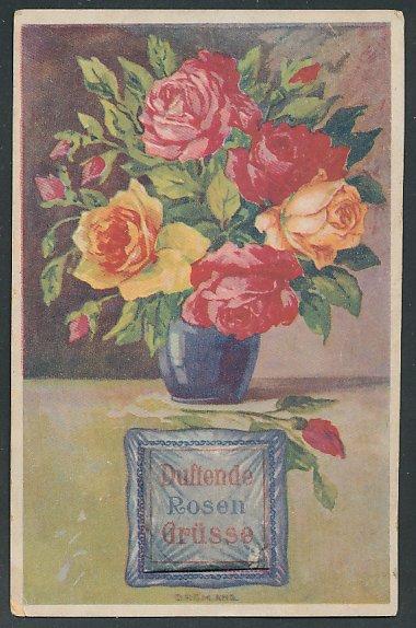 Stoff-Präge-AK Duftende Rosengrüsse, Rosen in einer Vase