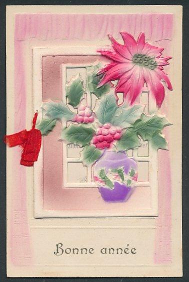 Präge-Airbrush-AK Bonne année, Stechpalmen in einer Vase