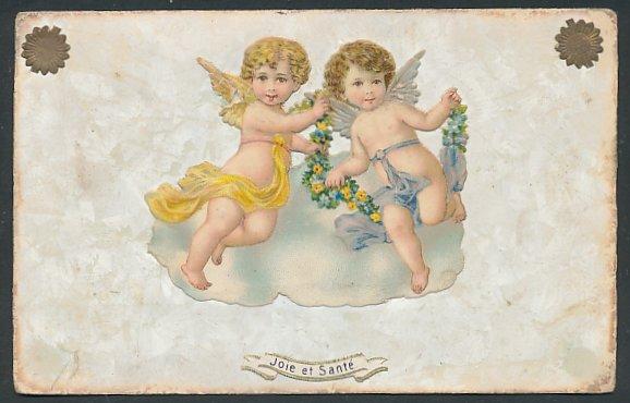 Oblaten-AK Joie et Santé, aufgeklebte Engelchen