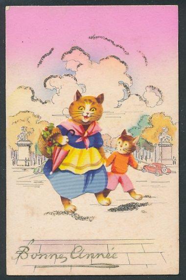 Oblaten-AK Bonne Année, aufgeklebte Katzenmama mit Sohnemann