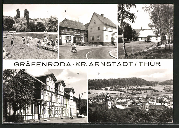 AK Gräfenroda, Schwimmbad, Rat der Gemeinde und HO-Gaststätte, Kulturzentrum
