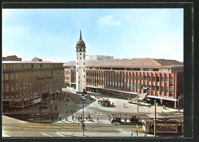 40170dd1a68ea AK Darmstadt, Partie am weissen Turm mit Strassenbahn und Kaufhof-Gebäude 0