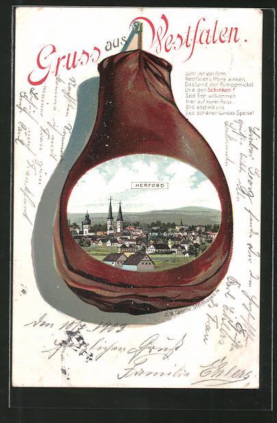 Passepartout-Lithographie Herford, Schinken mit Teilansicht der Stadt, Gedicht