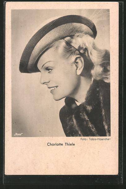 AK Schauspielerin Charlotte Thiele, Portrait im Profil mit Hut