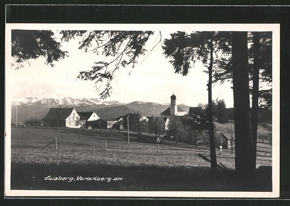 AK Sulzberg, Ortsansicht mit Bergen
