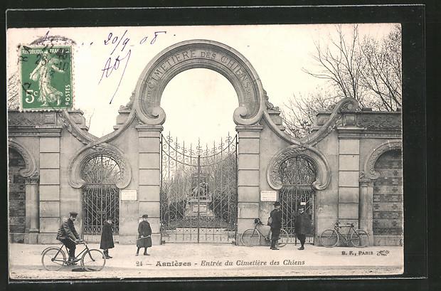 AK Asnières, Entrée du Cimetière des Chiens, Eingang zum Hundefriedhof