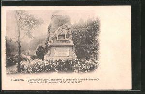 AK Asnières, Cimetière des Chiens, Monument der Barry, Bernhardinermonument auf dem Hundefriedhof