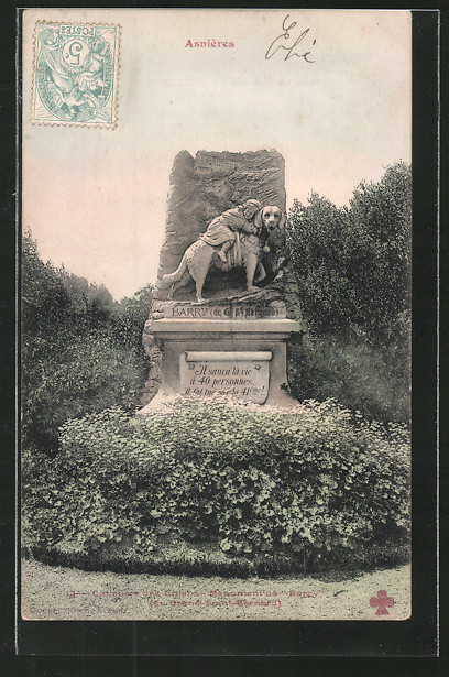 AK Asnières, Le Cimetière des Chiens, Tombe de Barry, Hundefriedhof