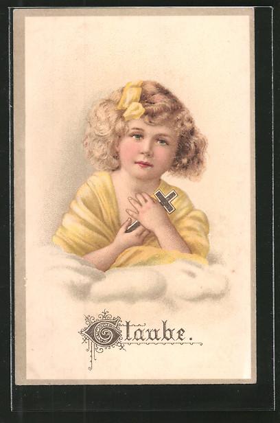 Präge-AK Mädchen hält ein Kreuz in der Hand, Allegorie, Glaube