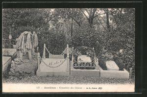 AK Asnières, Cimitières des Chiens, Grabsteine auf dem Hundefriedhof