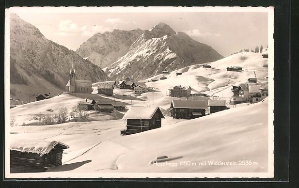 AK Hirschegg, Ortsansicht im Winter mit Widderstein