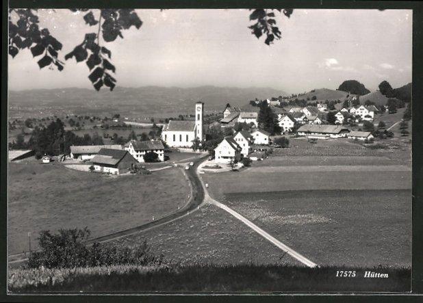 AK Hütten, Blick auf die Kirche und einen Teil des Ortes