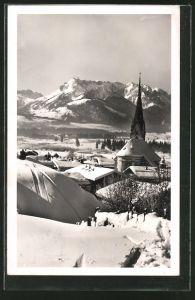 AK Kössen, Teilansicht mit Kirche im Winter